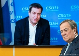 Markus Söder, leader of the Bavarian CSU (on screen), and Armin Laschet, recently-elected leader of the German CDU.