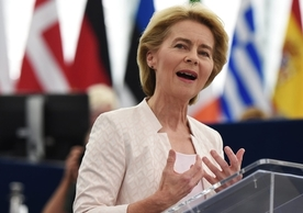 Ursula von der Leyen addressing the European Parliament Tuesday prior to the debate and vote on her candidacy for Commission president.
