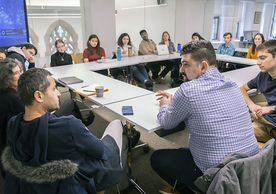 """Languages in Dialogue"" meets in the Poorvu Center for Teaching & Learning. (Photo credit: Dan Renzetti)"