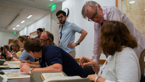 David Blight, GLC Director, guiding CIC faculty members through a primary source workshop at Yale Manuscripts and Archives.