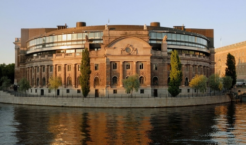 Swedish Riksdag, the seat of the parliament of Sweden.