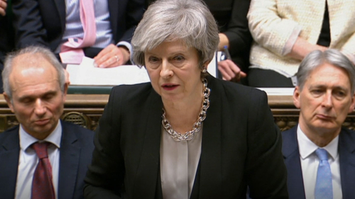 British Prime Minister Theresa May addressing the House of Commons Tuesday.