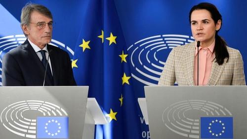 Svetlana Tikhanovskaya, candidate in Belarus presidential election, with European Parliament President David Sassoli at the EU, Sept. 21, 2020.