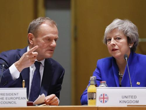 European Council President Donald Tusk and UK Prime Minister Theresa May at yesterday's European Council meeting.