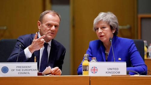 European Council President Donald Tusk and British Prime Minister Theresa May at yesterday's European Council meeting.