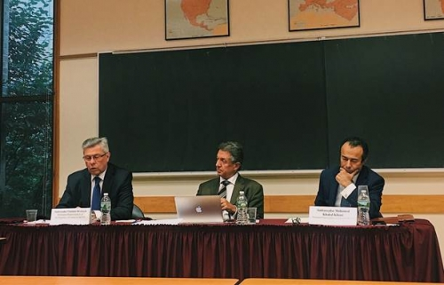 Ambassador Vladimir Drobnjak, Ambassador Yuriy Sergeyev, and Ambassador Mohamed Khaled Khiari