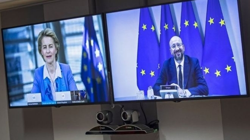European Commission President Ursula von der Leyen and European Council President Charles Michel in their video conference today with British Prime Minister Boris Johnson.
