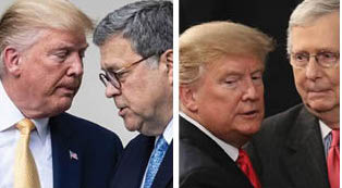 Legal aid: US Attorney General William Barr is siding with President Donald Trump, as is Senate majority leader Mitch McConnell.