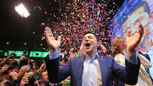 Volodomyr Zelensky celebrating his landslide victory Sunday evening.